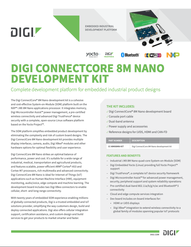 Digi ConnectCore 8M Nano Development Kit Datasheet cover page