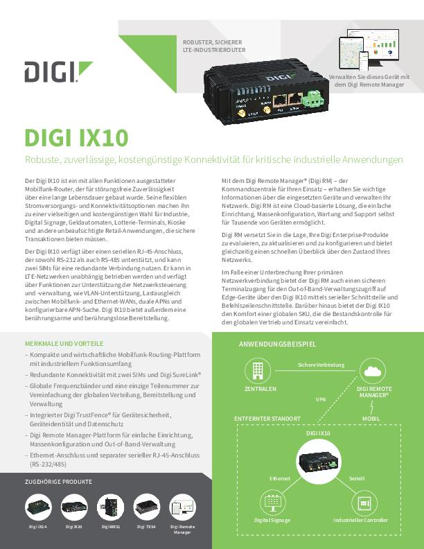 Digi IX10 Datenblatt (Deutsch) cover page