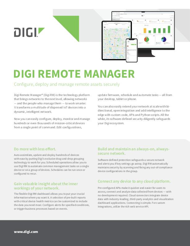 Digi Remote Manager datasheet cover page