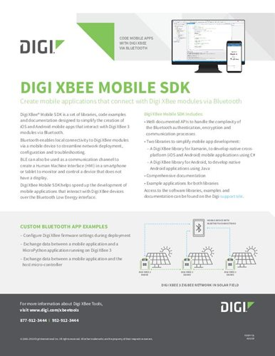 Digi XBee Mobile SDK Datasheet cover page