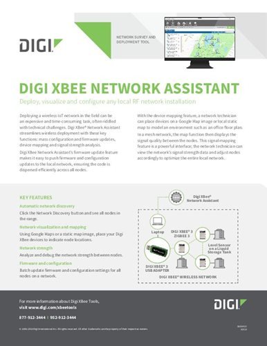 Digi XBee Network Assistant Datasheet cover page