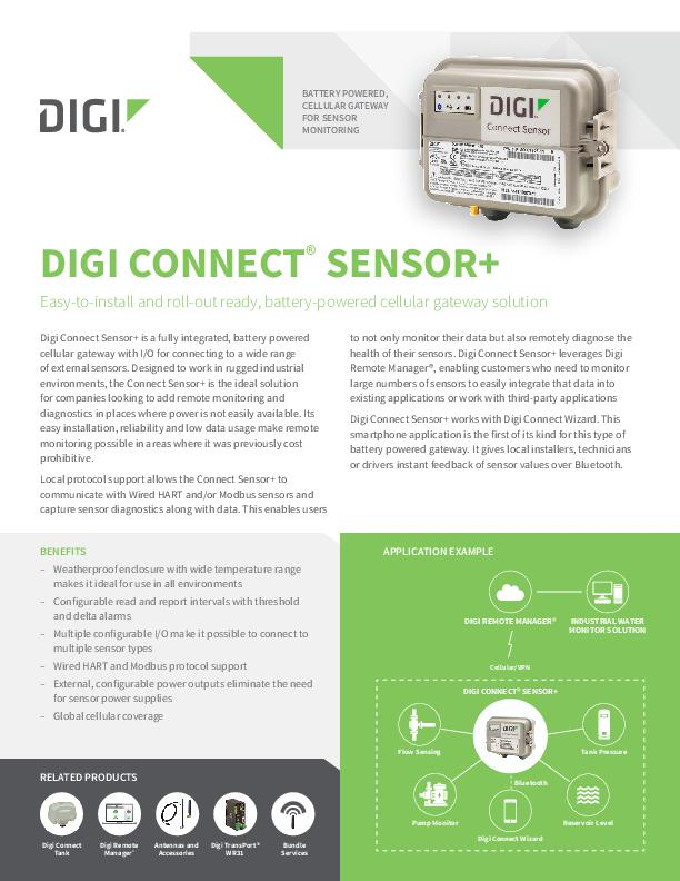 Digi Connect Sensor+ Datasheet cover page