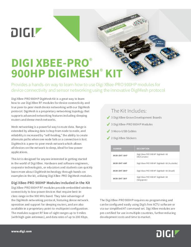 Digi XBee-PRO 900HP DigiMesh Kit Datasheet cover page
