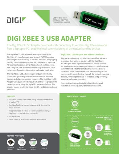 Digi XBee 3 USB Adapter Datasheet cover page