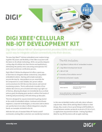 Digi XBee3 Cellular NB-IoT Development Kit Datasheet cover page