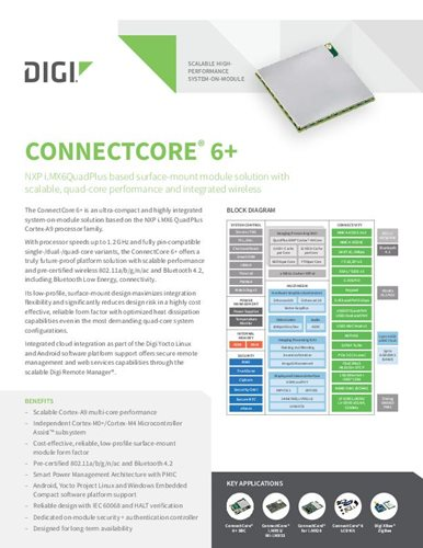 Digi ConnectCore 6+ datasheet cover page