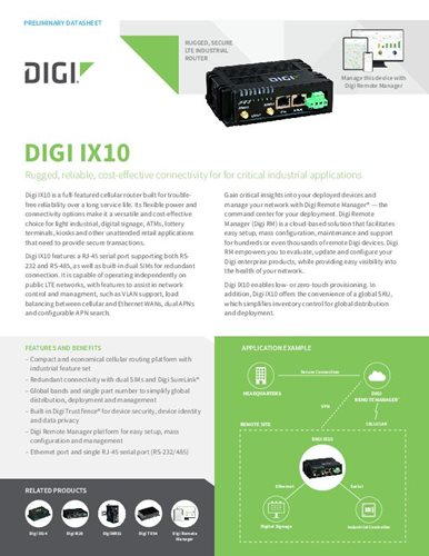 Digi TransPort WR11 XT Datasheet cover page