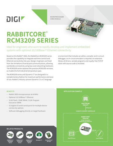 RabbitCore RCM3209 Series Datasheet cover page