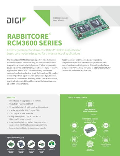 RabbitCore RCM3600 Series Datasheet cover page