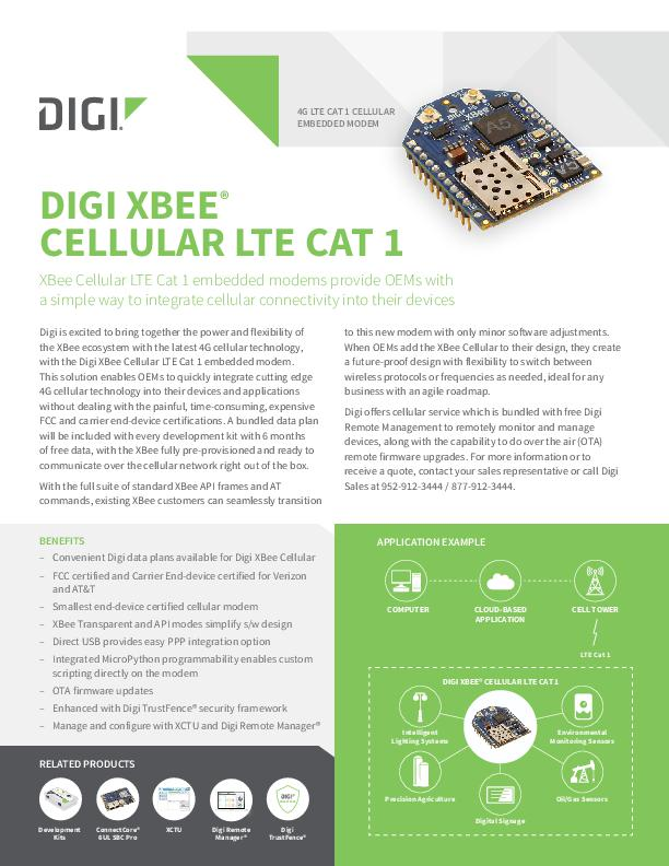 Digi XBee with Cellular Datasheet cover page