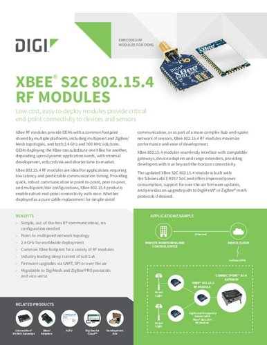 Digi XBee S2C 802.15.4 RF Modules Datasheet cover page