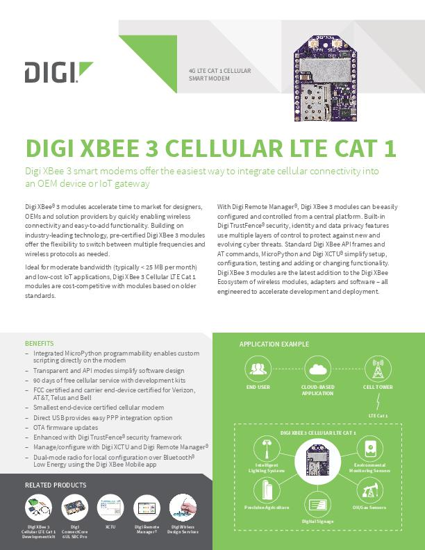 Digi XBee 3 Cellular LTE Cat 1 Datasheet cover page