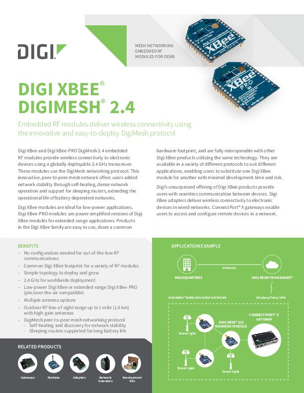 XBee DigiMesh 2.4 Legacy Datasheet cover page