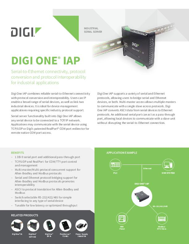 Digi One IAP Datasheet cover page