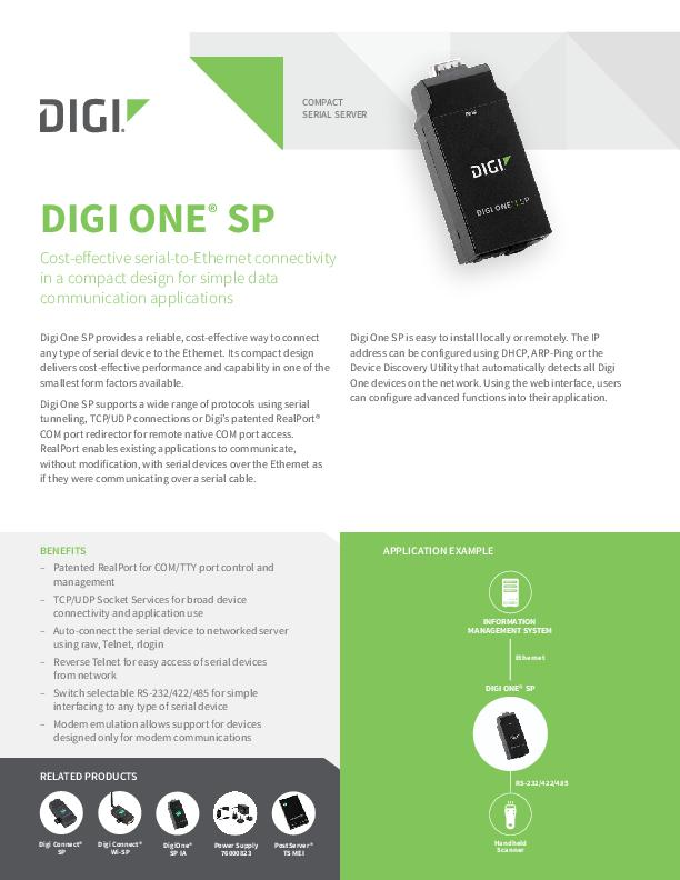 Digi One SP Datasheet cover page