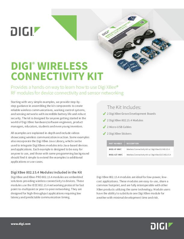Digi Wireless Connectivity Kit Datasheet cover page