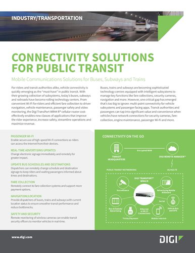 Connectivity Solutions for Public Transit cover page
