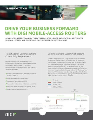 Drive Your Business Forward With Digi Mobile-access Routers cover page