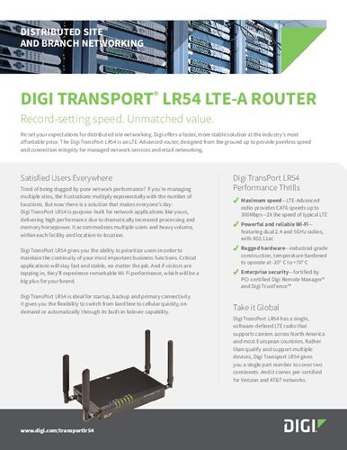 Digi TransPort LR54 for Distributed Site and Branch Networking cover page