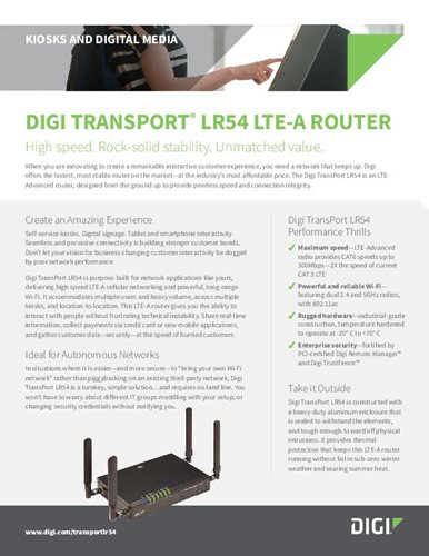 Digi TransPort LR54 for Kiosks and Digital Media cover page