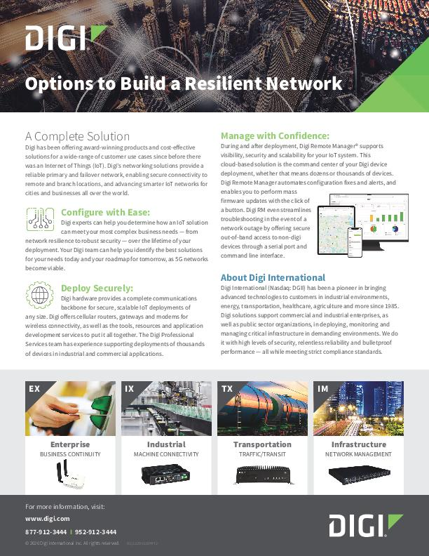 Options to Build a Resilient Network cover page