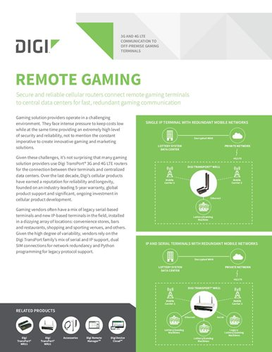 3G and 4G LTE Communication to Off-premise Gaming Terminals cover page