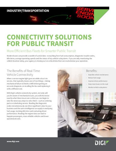 Connectivity Solutions for Public Transit with Digi WR44 R Cellular Router and Digi Wireless Vehicle Adapter cover page