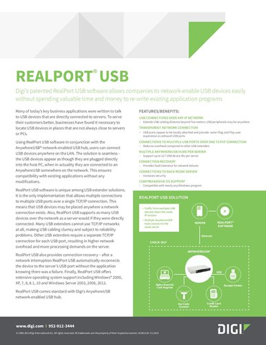 Digi's patented RealPort USB software allows companies to network-enable USB devices easily cover page