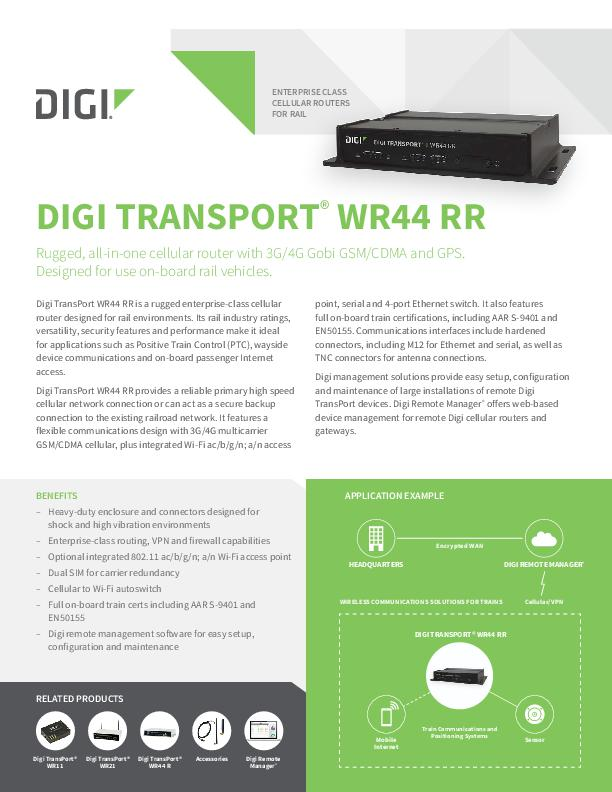 Rugged 3G/4G Cellular Router for On-Board Rail Vehicles