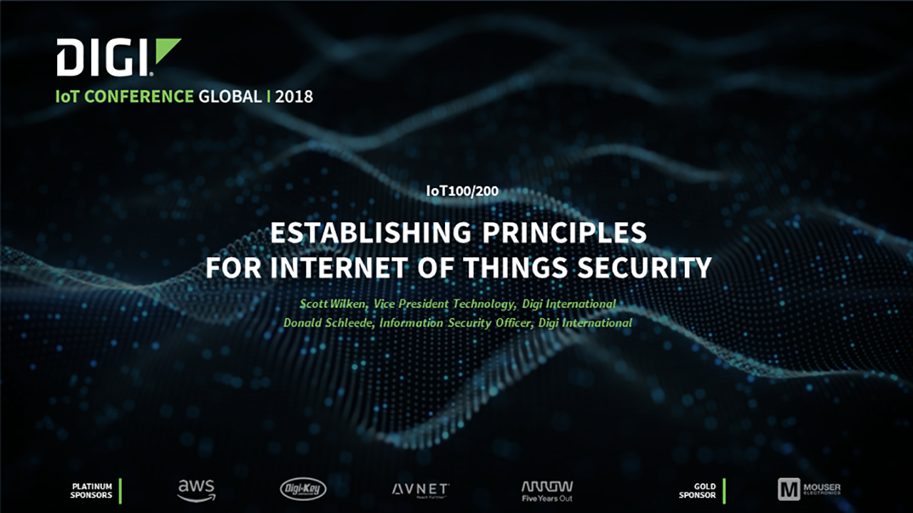 Establishing Principles for the Internet of Things (IoT) Security