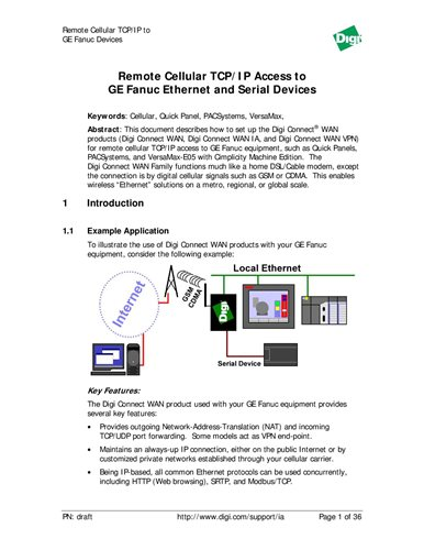 Remote Cellular TCP/IP Access to GE Fanuc Ethernet and