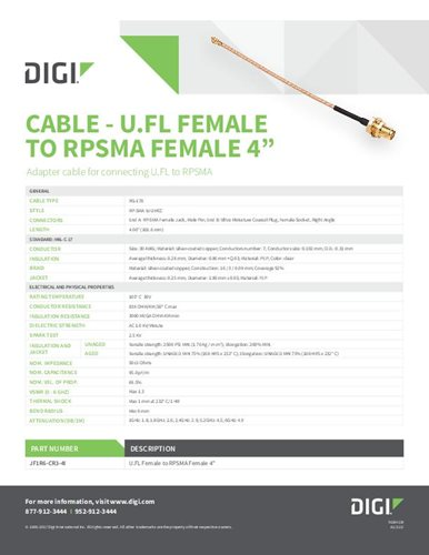 "Cable - U.FL Female To RPSMA Female 4"" Datasheet"
