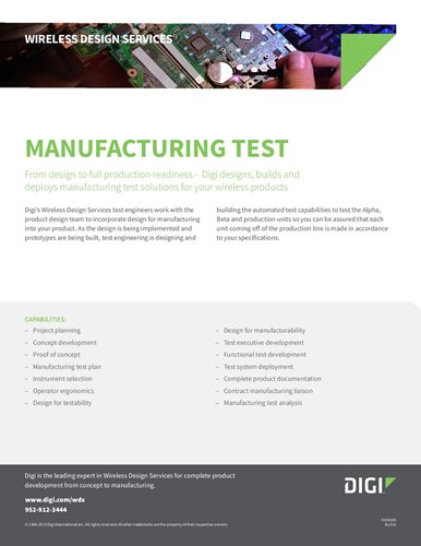 Wireless Design Services: Manufacturing Test Datasheet