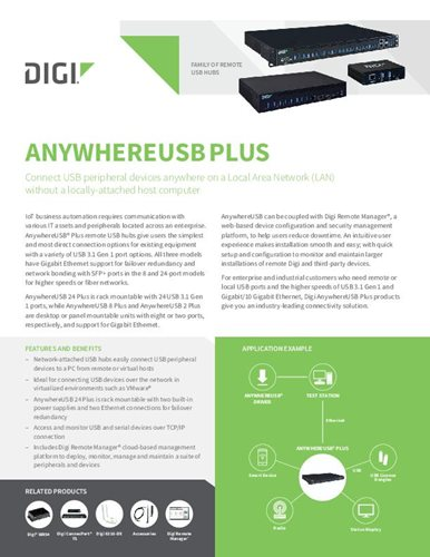 Digi AnywhereUSB Plus Family Datasheet