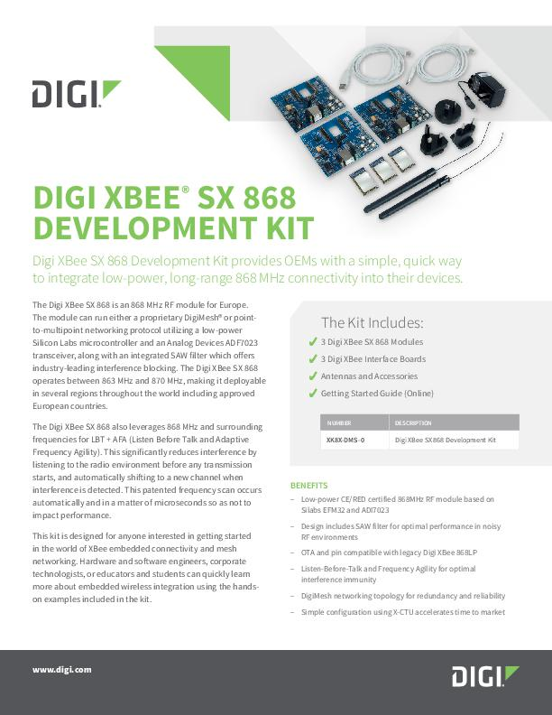 Digi XBee SX 868 Development Kit Datasheet