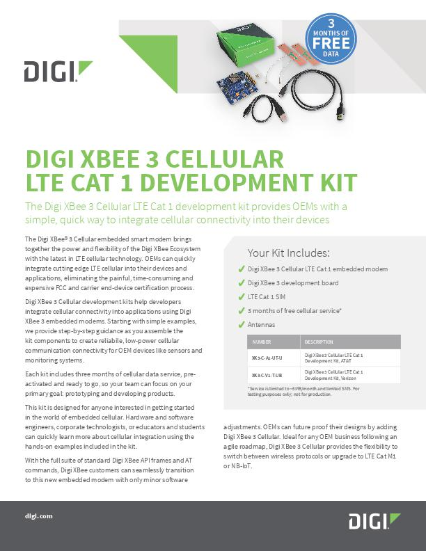 Digi XBee 3 Cellular LTE Cat 1 development kit datasheet