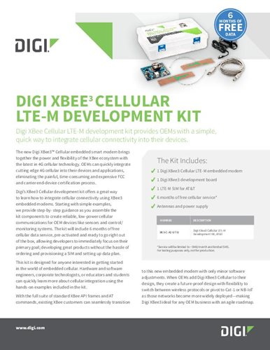 Digi XBee 3 Cellular LTE-M development kit datasheet