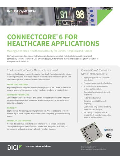 Digi ConnectCore 6 for Healthcare Applications