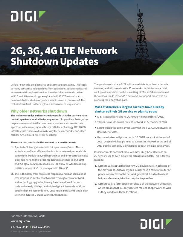 2G, 3G, 4G LTE Network Shutdown Updates