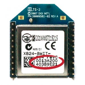 Back of XBee showing 64-bit address