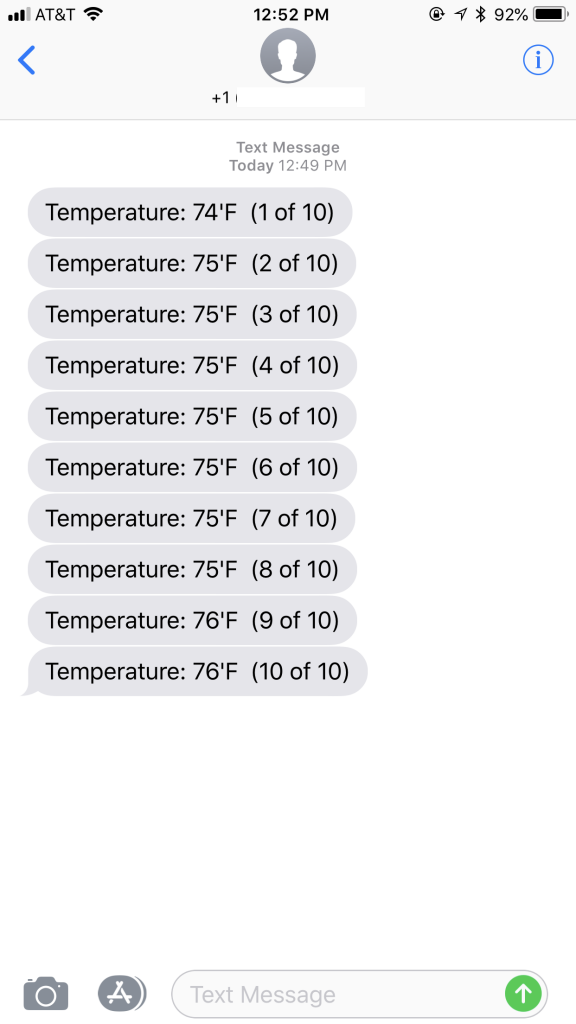 SMS Temperature Example