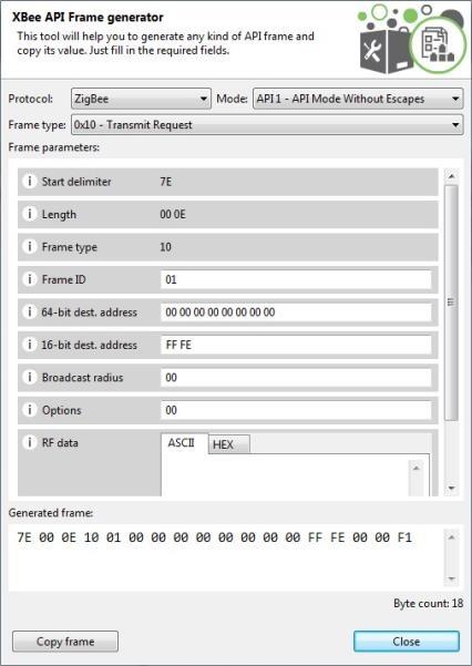 XCTU Frames Generator Zigbee