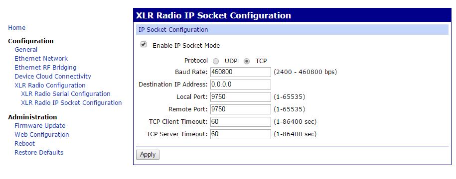 Set XLR radio IP socket (Ethernet) options