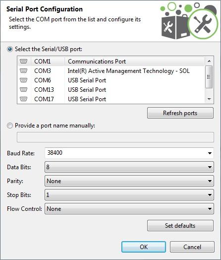 Configure the serial port settings