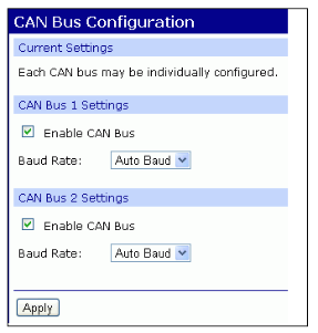 Configure CAN bus baud rate (CAN bus simulator use only)