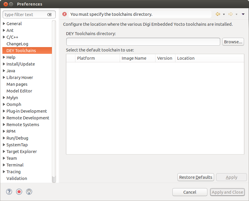 Eclipse validating target directory locator